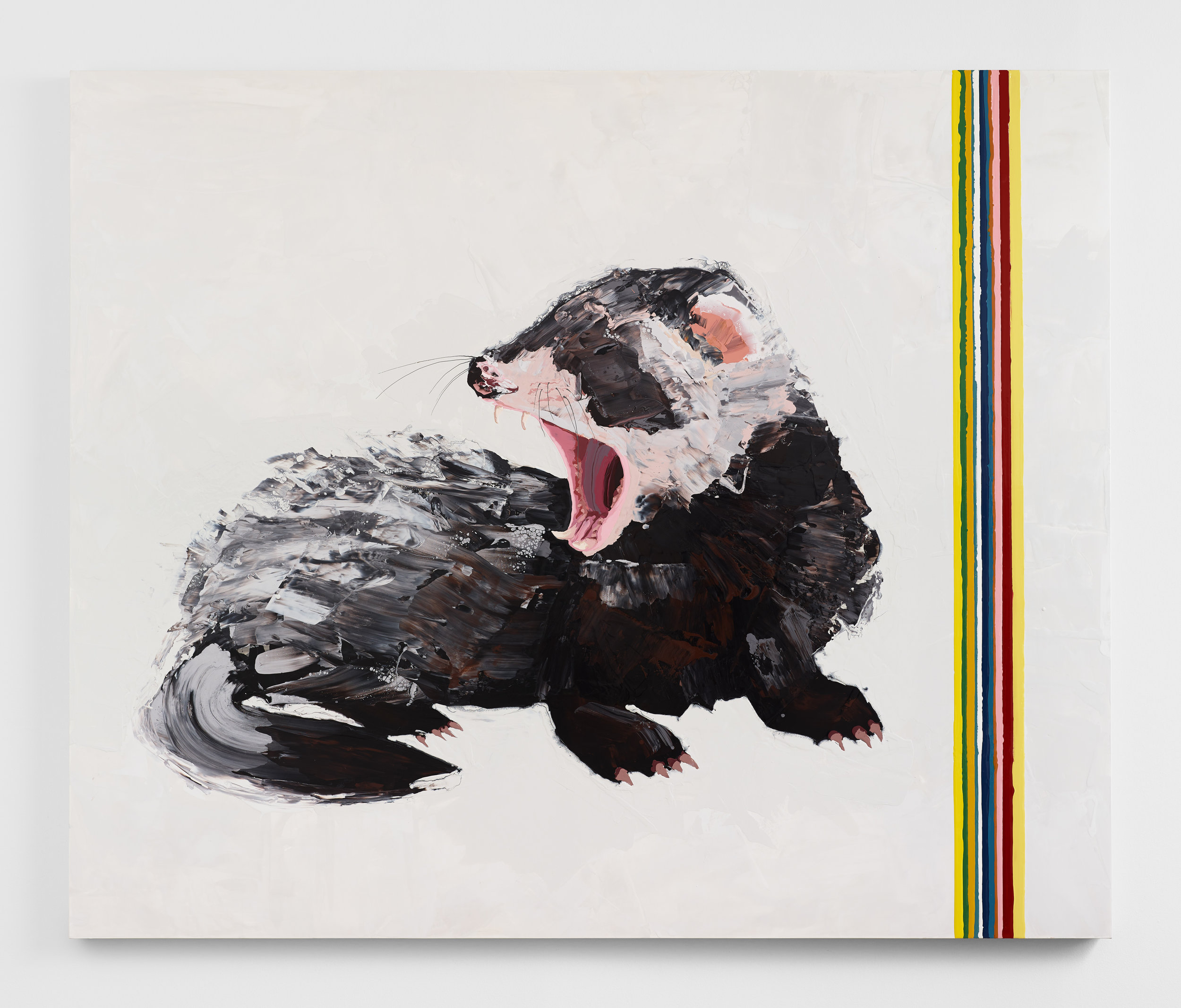 Kirsten Everberg, Ferret, 2019, Oil and enamel on canvas mounted on wood panel, 72 x 60 inches