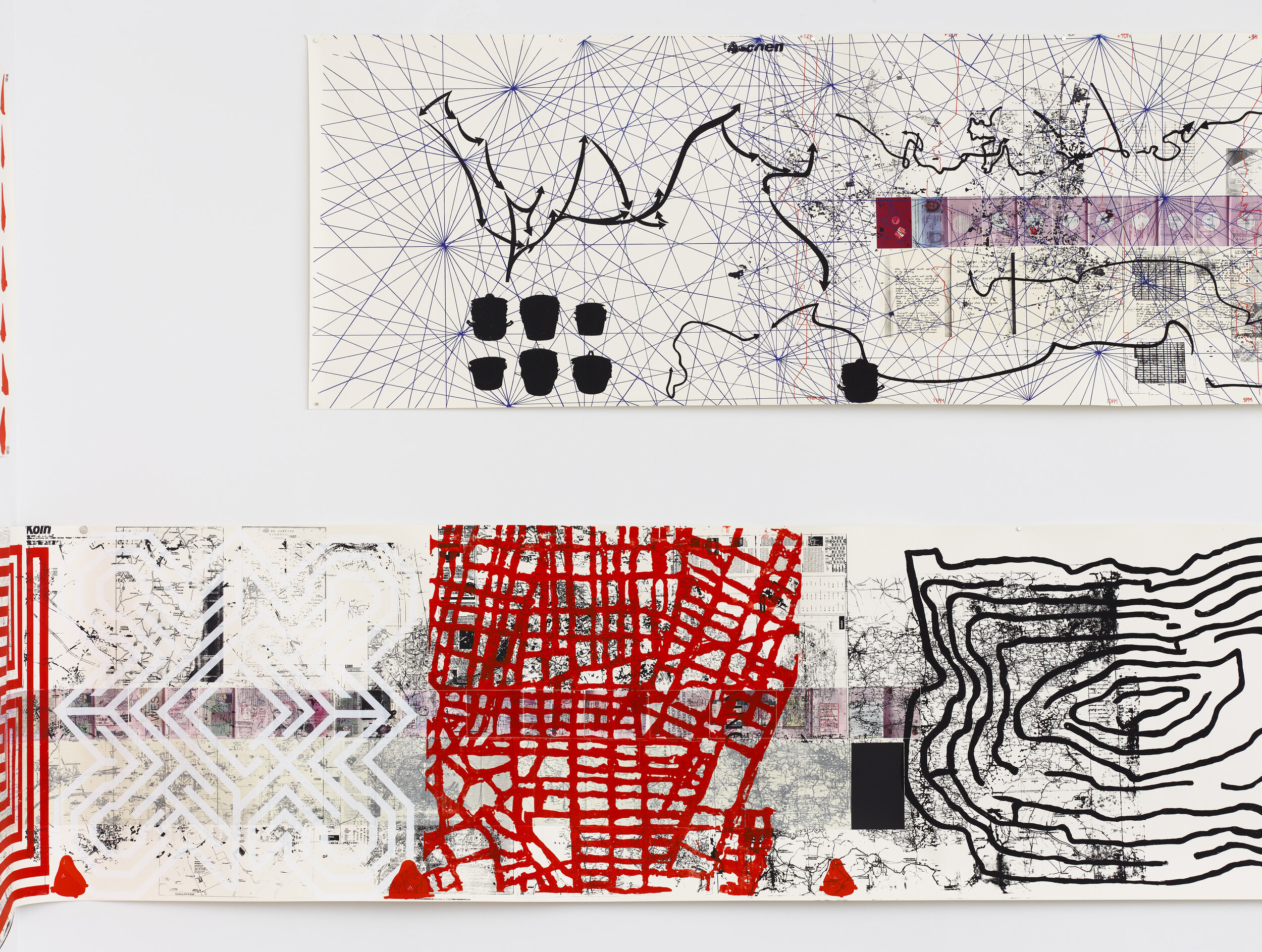 Rirkrit Tiravanija, Untitled 2008–2011 (the map of the land of feeling) I–III, 2008 - 11, Three scrolls with digital printing, lithography, chine collé, and screenprint, Approx. size each 36 x 334 inches Edition 5 of 40, 10