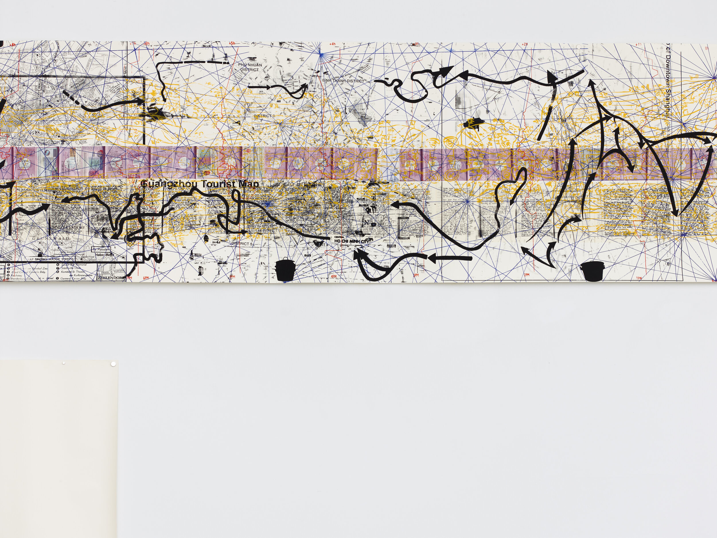 Detail of Rirkrit Tiravanija, Untitled 2008–2011 (the map of the land of feeling) I–III, 2008 - 11, Three scrolls with digital printing, lithography, chine collé, and screenprint, Approx. size each 36 x 334 inches Edition 5 of 40, 10