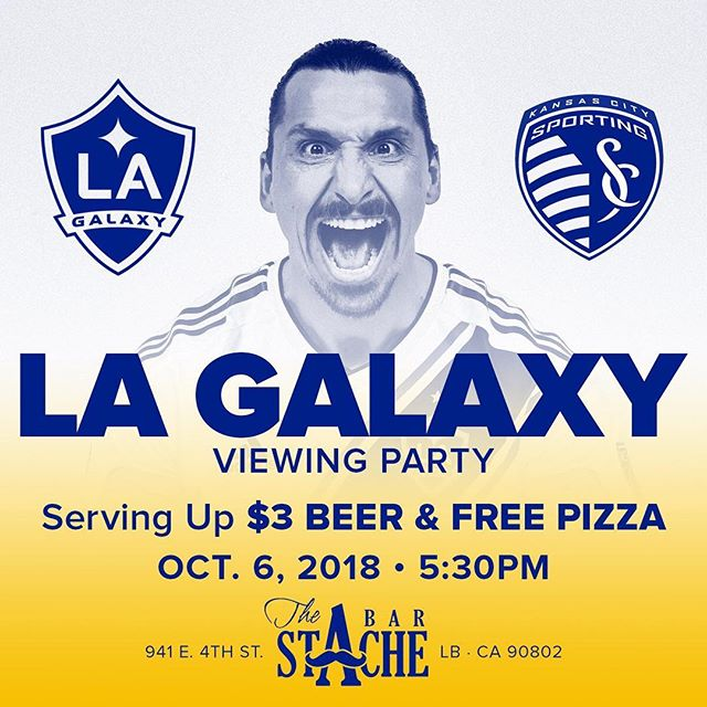It's Game day!  @lagalaxy continue their playoff push tonight against @sportingkc . FREE pizza and $3 beers specials during the game. #longbeach #lagalaxy