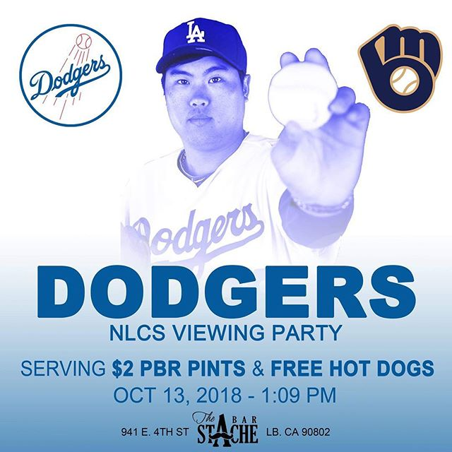 @dodgers back at it today. Doors open at 12:30. $2 @pabstblueribbon pints and Free Hot Dogs. Get here! #longbeach #nlcs