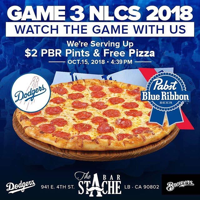 We are having a @dodgers pizza party! Game starts at 4:39pm today. $2 @pabstblueribbon pints during the game! See ya tonight! #longbeach #4thstreetlb