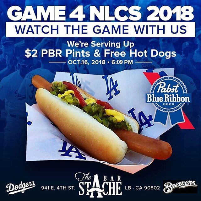 Bring that positive Blue energy in tonight!!!! Game at 6:09pm on the big screen with sound. Let's Even this series up. Free Dogs and $2 @pabstblueribbon pints till the game is over! #longbeach #4thstreetlb