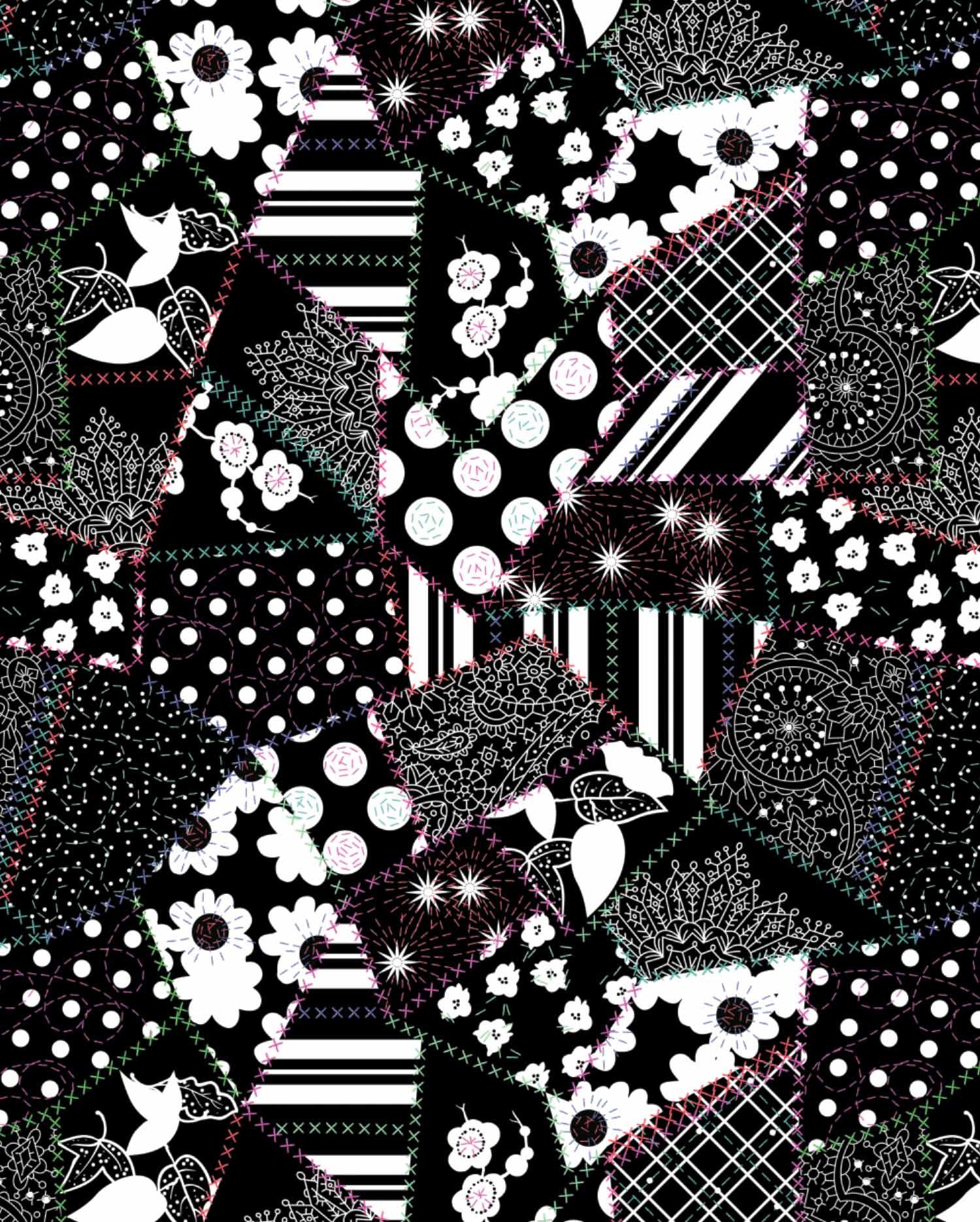 Black Crazy Quilt pattern