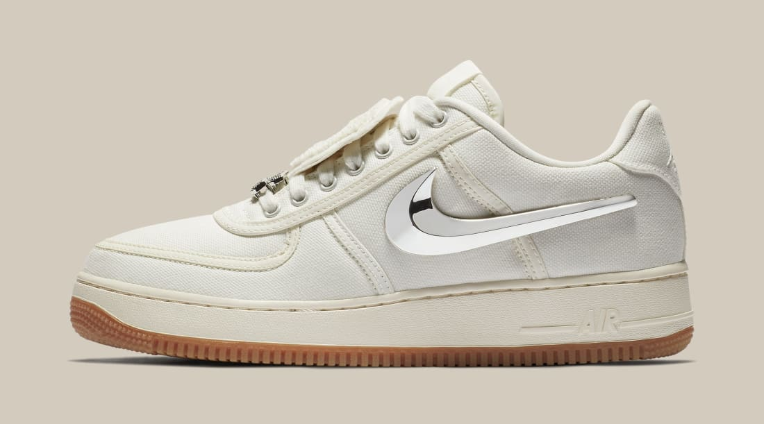 Le Flame is on fire this year and it seems like he won't be cooling off anytime soon. Travis Scott is back with another Nike Air Force 1 low collaboration. This time around the Air Force 1 comes in a sail canvas upper on top of a gum bottom outsole.   Release Date:  Friday, Aug. 10 at 10 a.m   Original Sales Price:  $150   Where to cop:  Nike SNKRS and other select retailers