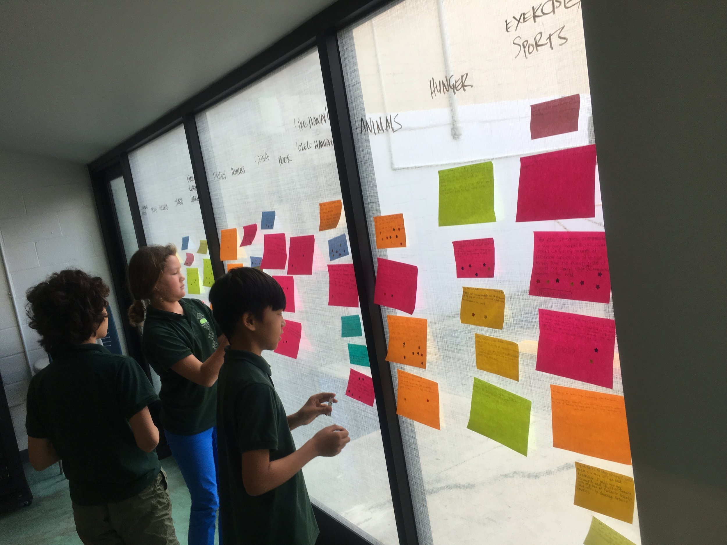 Hālau Kū Māna project creation wall, exploding with ideas!