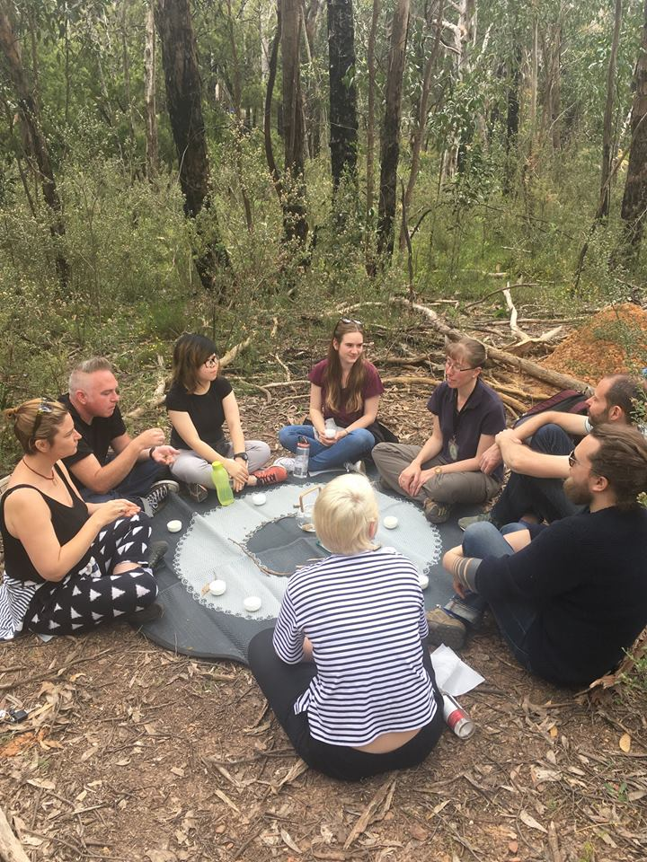 Freerange Future enjoying a Forest Bathing session with Alex at Belair National Park.