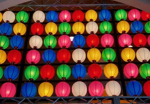 Paper lanterns in the city market, Nagoya, Japan
