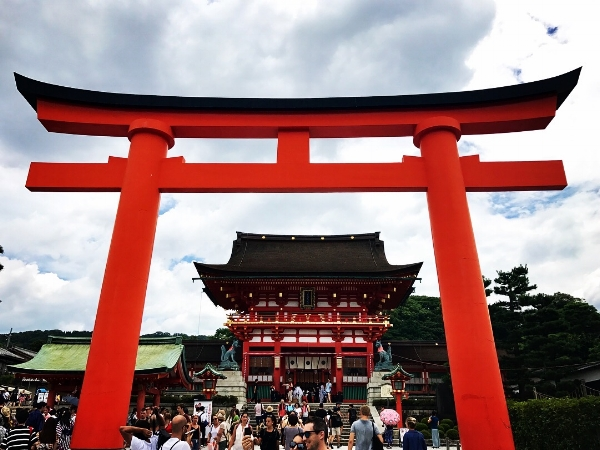 Gate leading to the famous shrine, Fushimi Inari Taishi, in Kyoto, Japan