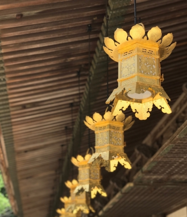Golden lanterns in the UNESCO-protected temple settlement, Danjo Garan, Mt. Koya, Japan