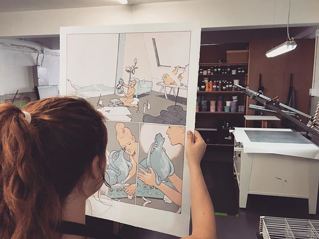 Edition in the making for @50ty50typrints with @octaviaroodt A lot of effort goes into checking every printed sheet throughout the process  #contemporaryartprints #southafricanartist #screenprinting #graphicnovel #comix #bandedessinée #blackriverstudio #50ty50typrints