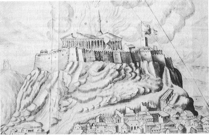 The explosion of the Turkish arsenal inside the Parthenon in 1687 after being bombarded by Venetian troops commanded by Morosini. Lithograph after F. Fanelli. Atene Attica. Copyright The British Museum London.