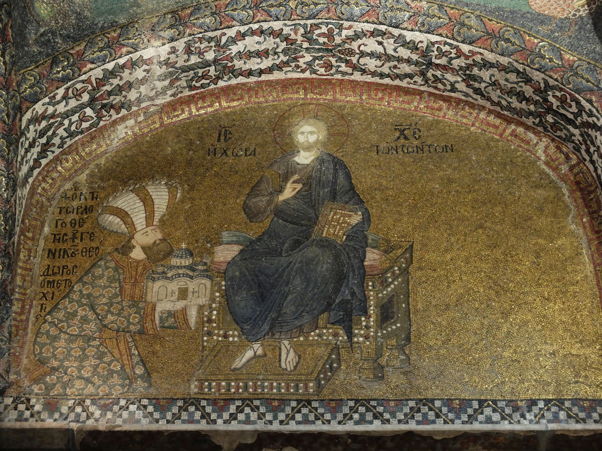 (Mosaic depicting Theodore Metochites, teacher to St. Gregory Palamas, offering a donation to Christ — Chora Monastery, Constantinople)