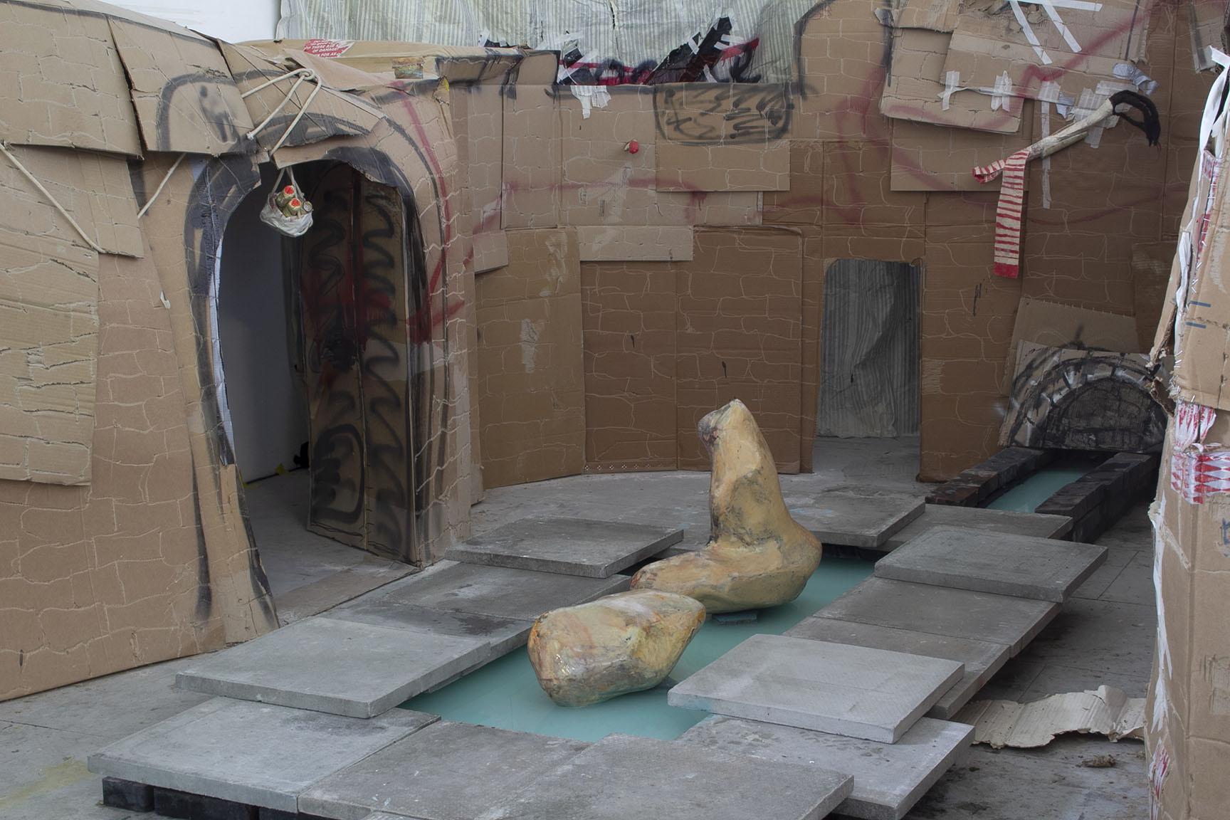 Bechamel from mars 2019 resin, pigments, water, bricks, bubbles.  Installation views in collaboration with Henrique Lázaro Palmeirim, Deptford Studios, Goldsmiths London UK