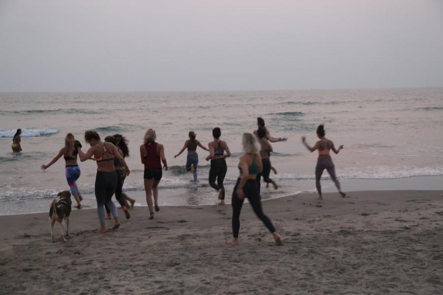 Post sweat-lodge beach swims