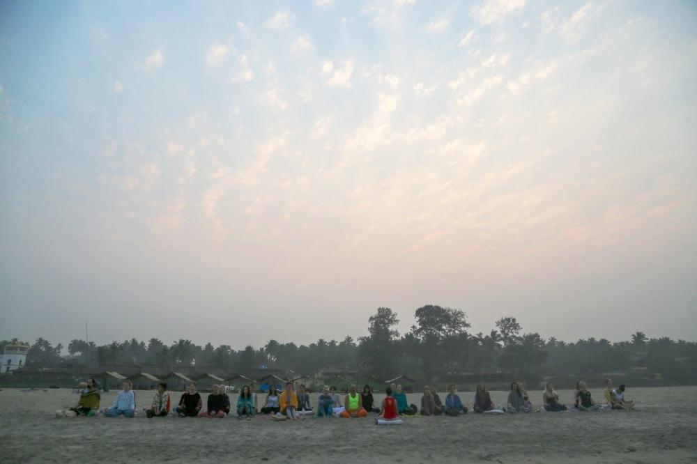 Morning meditation on the beach