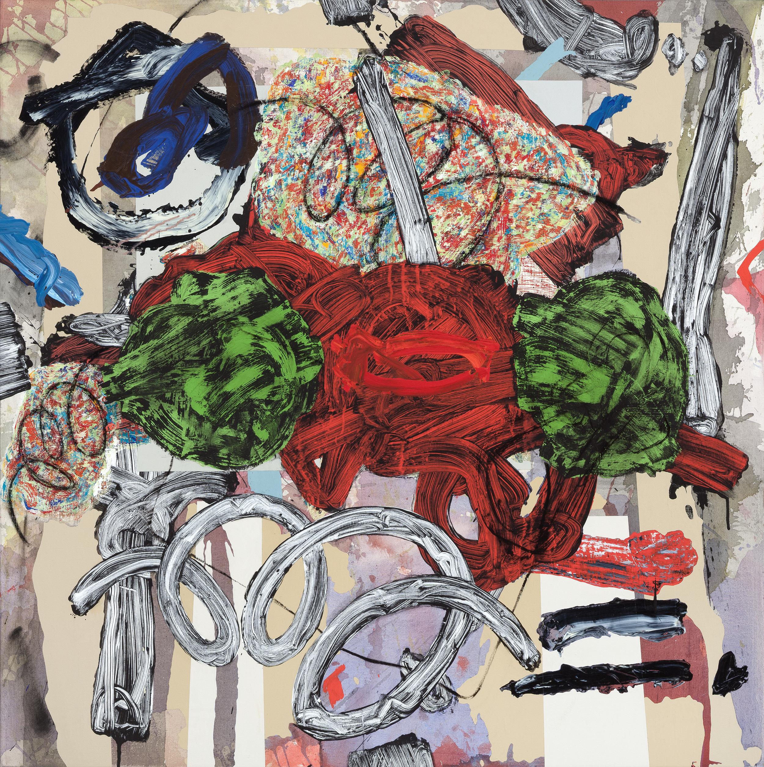 SYMMETRY FAILING, 2017   mixed media on canvas 42 x 42 in.