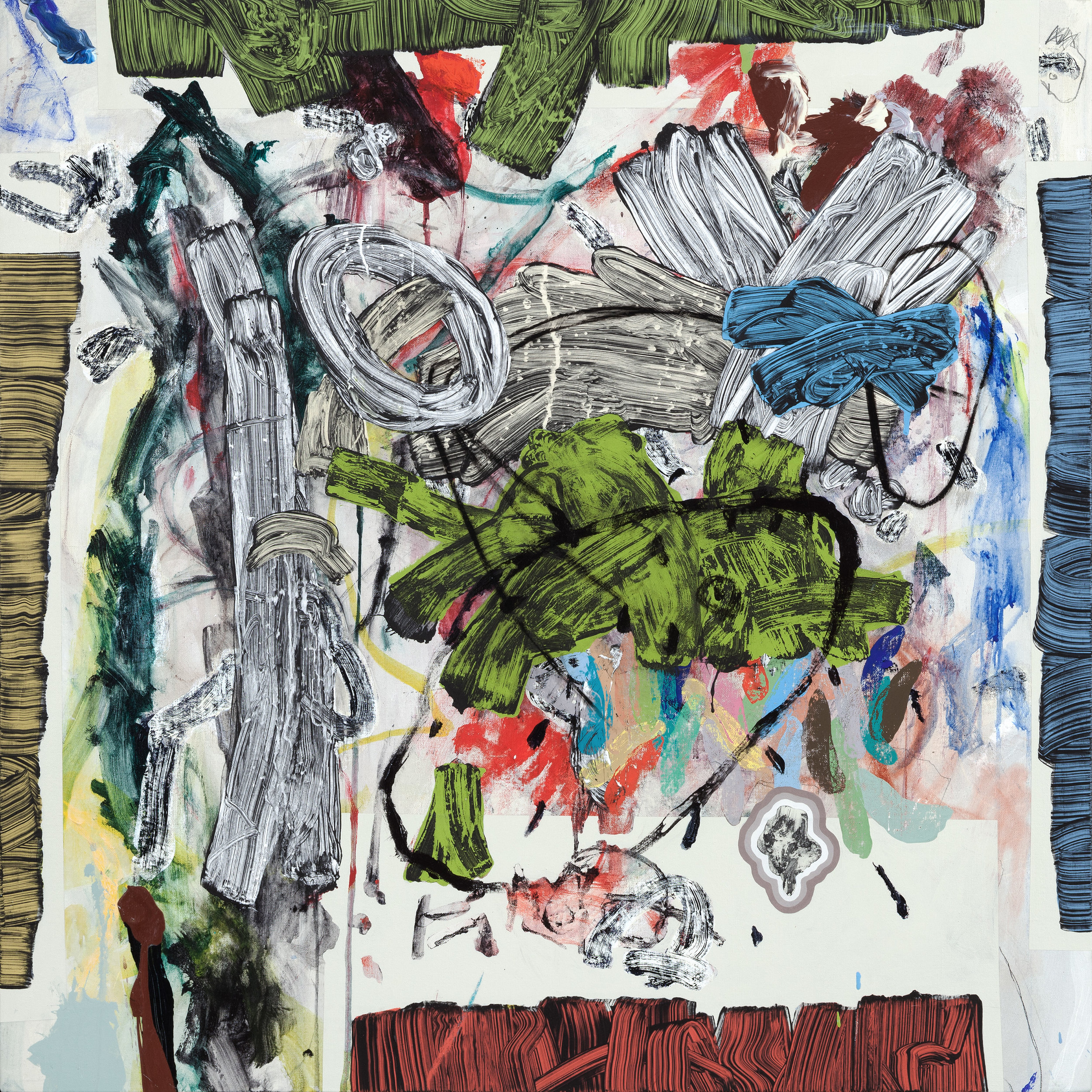 """REPRODUCING JESSE'S DRAWING 5   mixed media on canvas  34"""" x 34"""""""