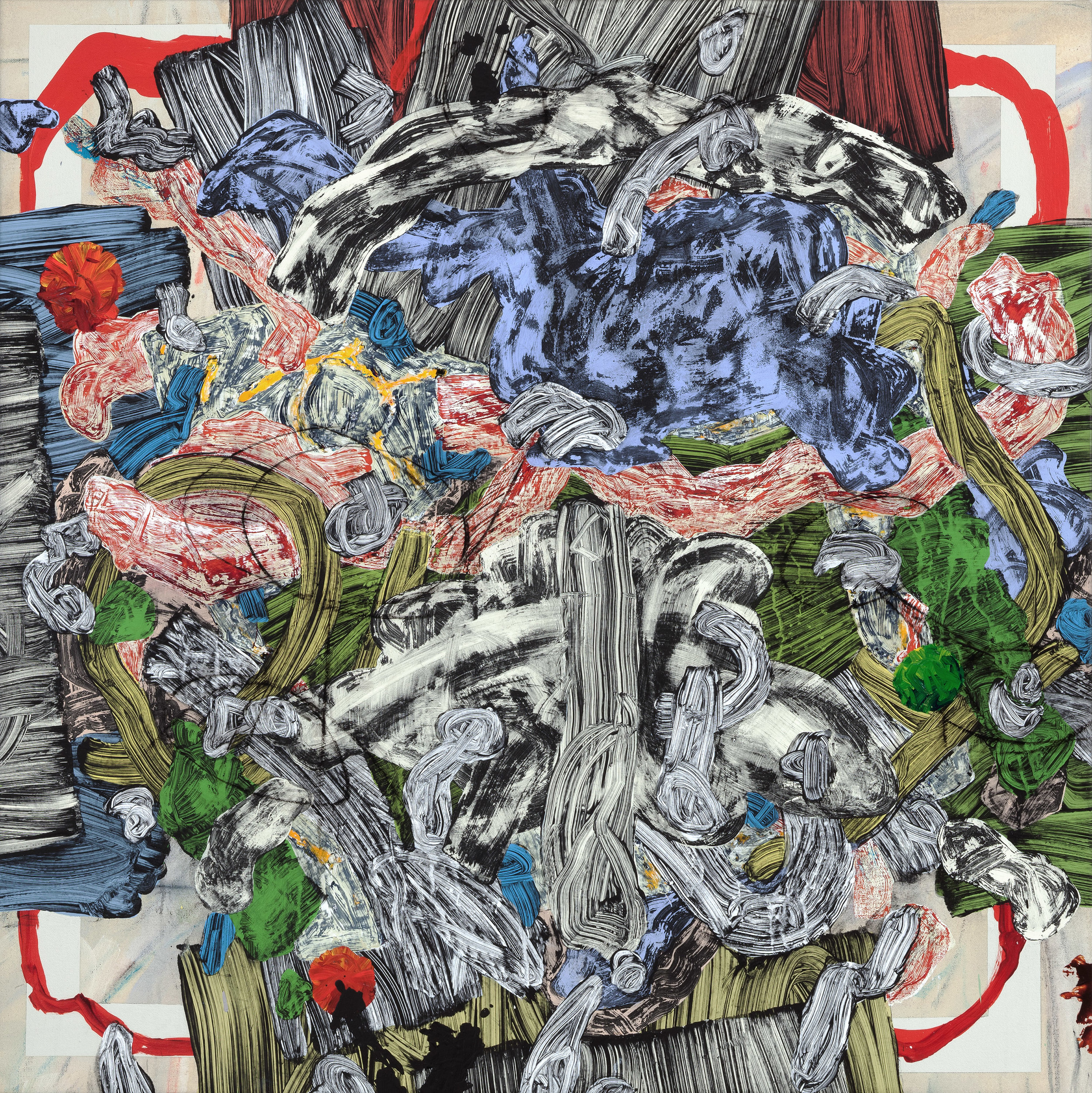 """PETROGLYPH 2   mixed media on canvas  34"""" x 34"""""""