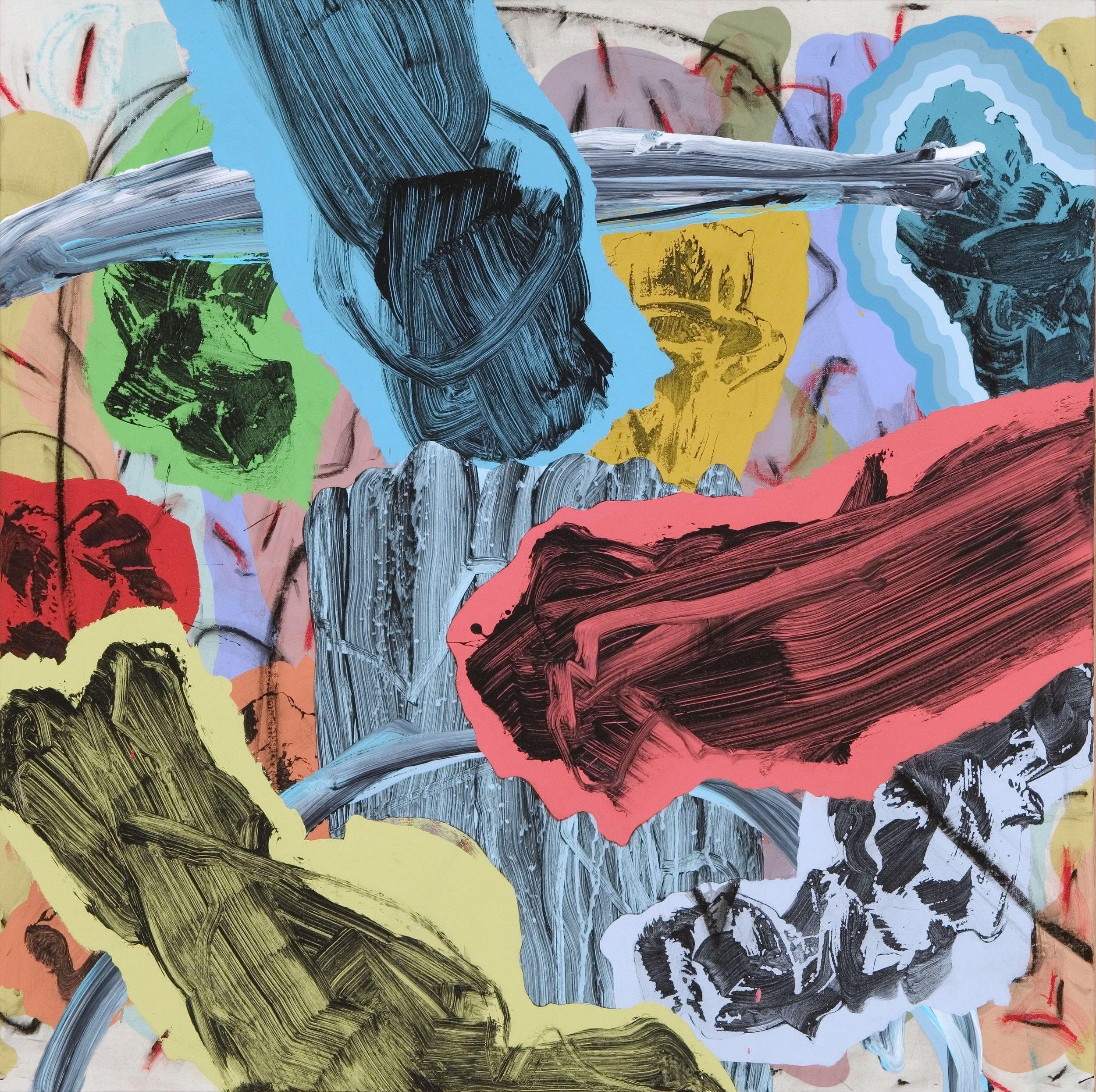 LONGITUDE AND LATITUDE, 2015   mixed media on canvas 30 x 30 in.