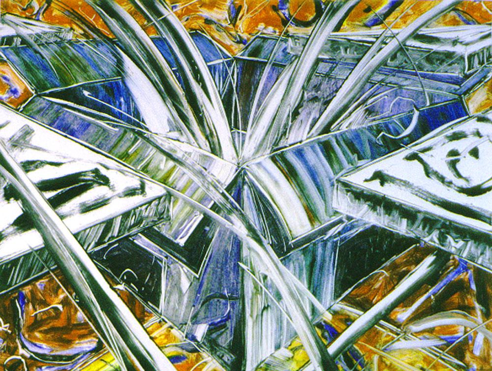 BLUE ENCLOSURE, 1999   monotype 24 x 31 in.