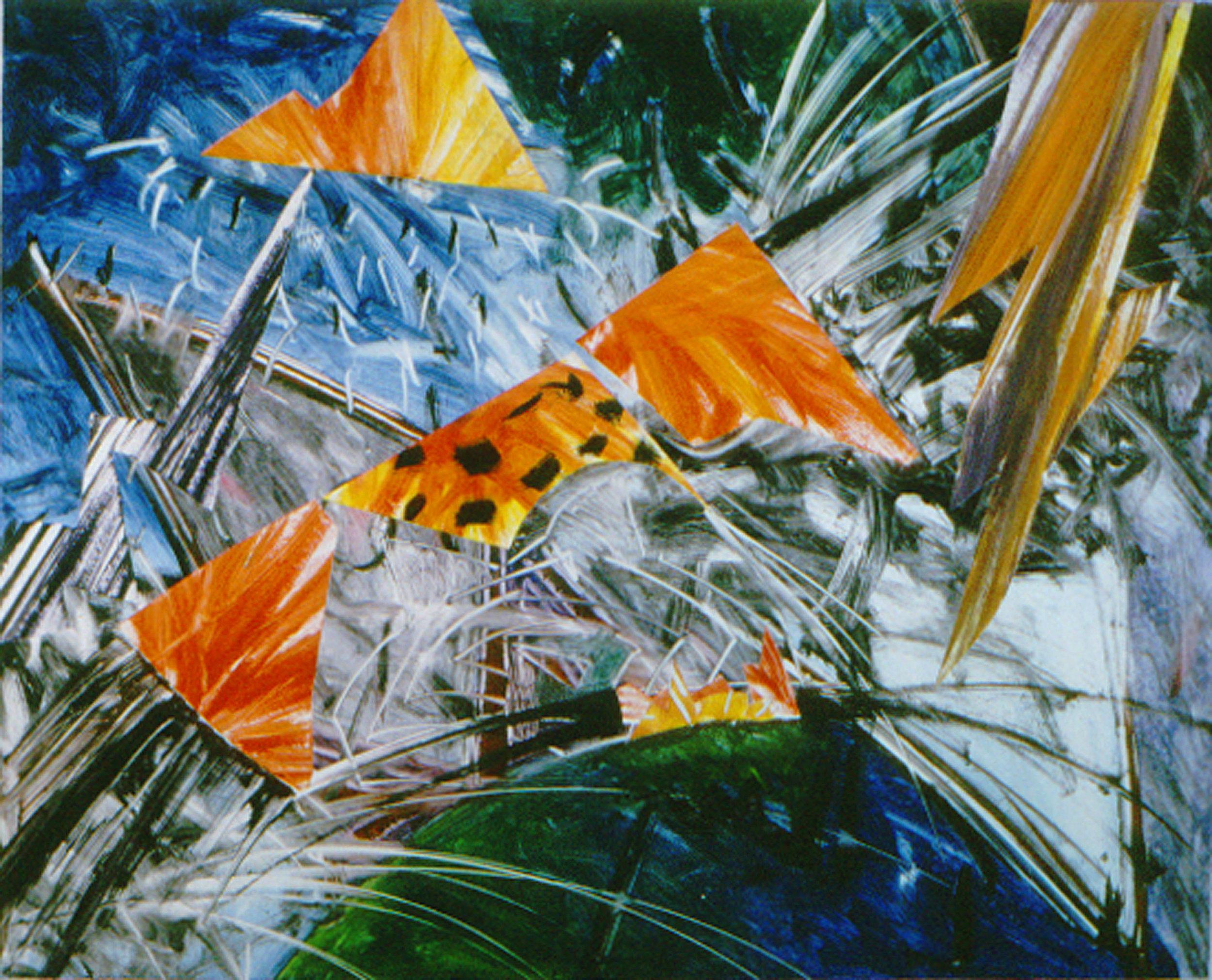 RED ATTRACTORS, 1988   monotype 24 x 30 in.