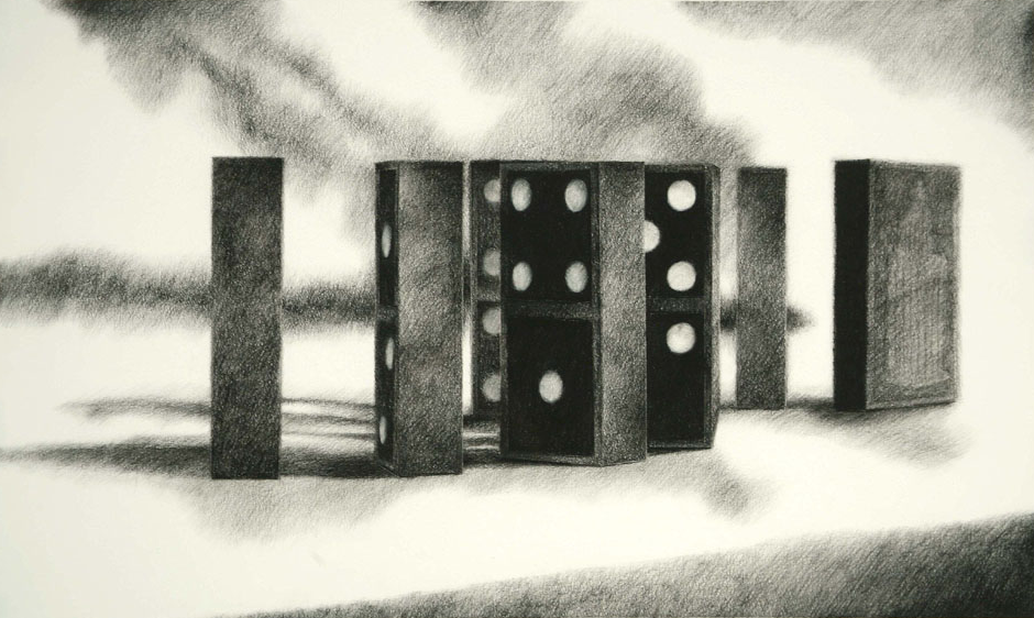 """DOMINO THEORY II   charcoal on paper  27"""" x 43"""""""