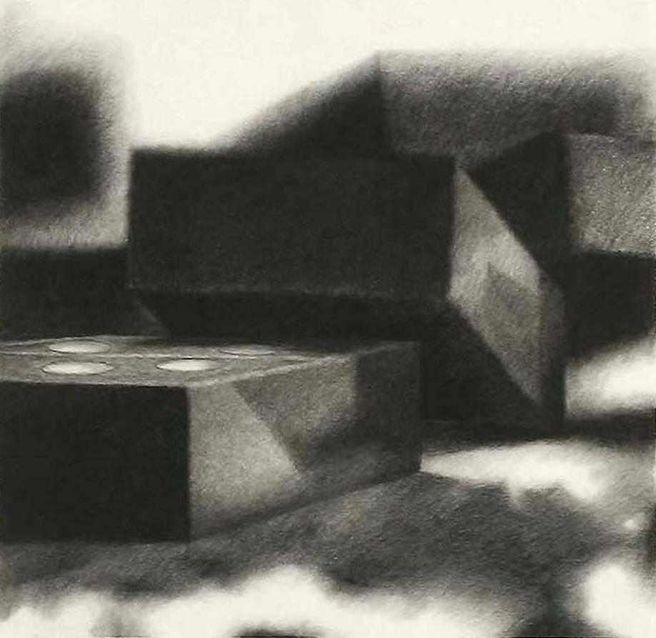 "DOMINO THEORY III   charcoal on paper  30"" x 31"""
