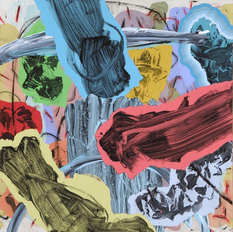 "LONGITUDE AND LATITUDE   mixed media on canvas  30"" x 30"""