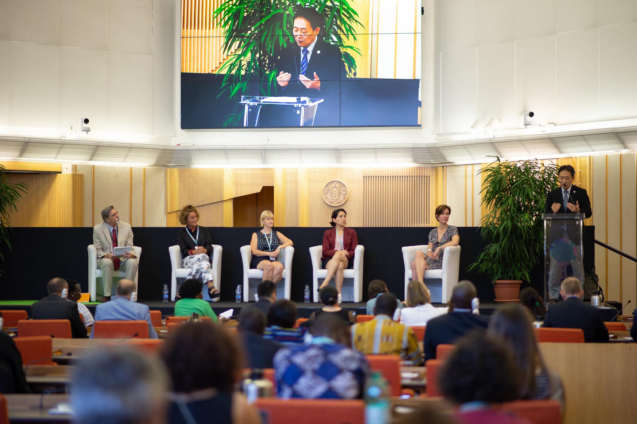 FAO:n metsäasioista vastaava apulaispääsihteeri Hiroto Mitsugi puhuu FAO-FFF:n paneelitilaisuudessa Roomassa. Kuva: Pilar Valbuena/FAO