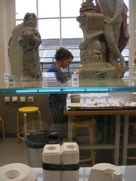 view into the ceramic studio from the gallery