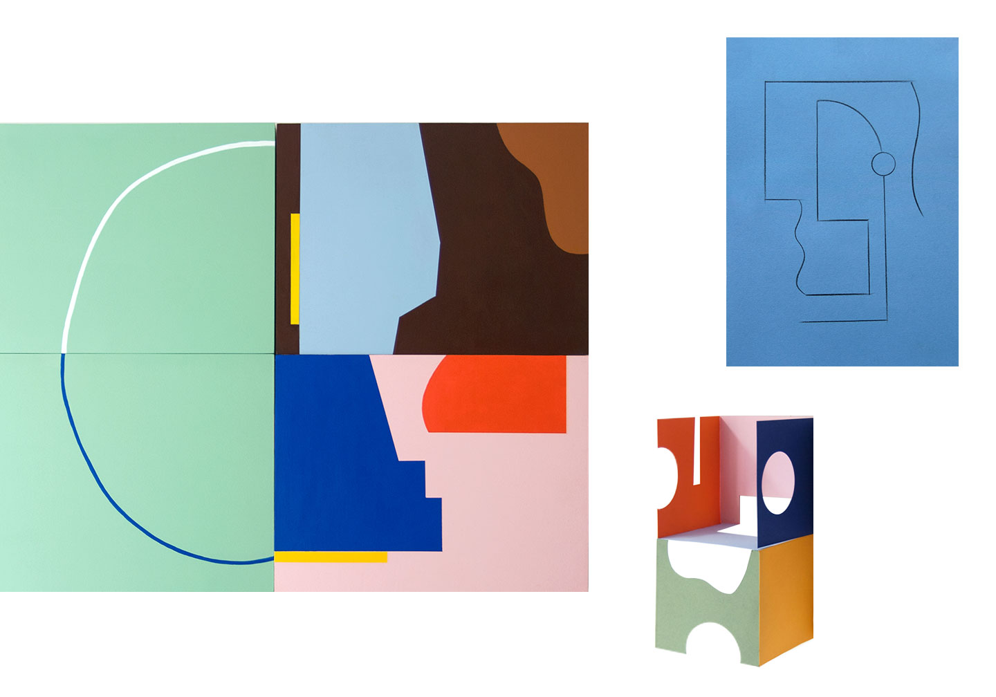 Acrylic Painting on Four Panels - 80cm x 60cm - 2017 Incomplete Structures - from a series of drawings - 2019 Paper Sculpture - 2018