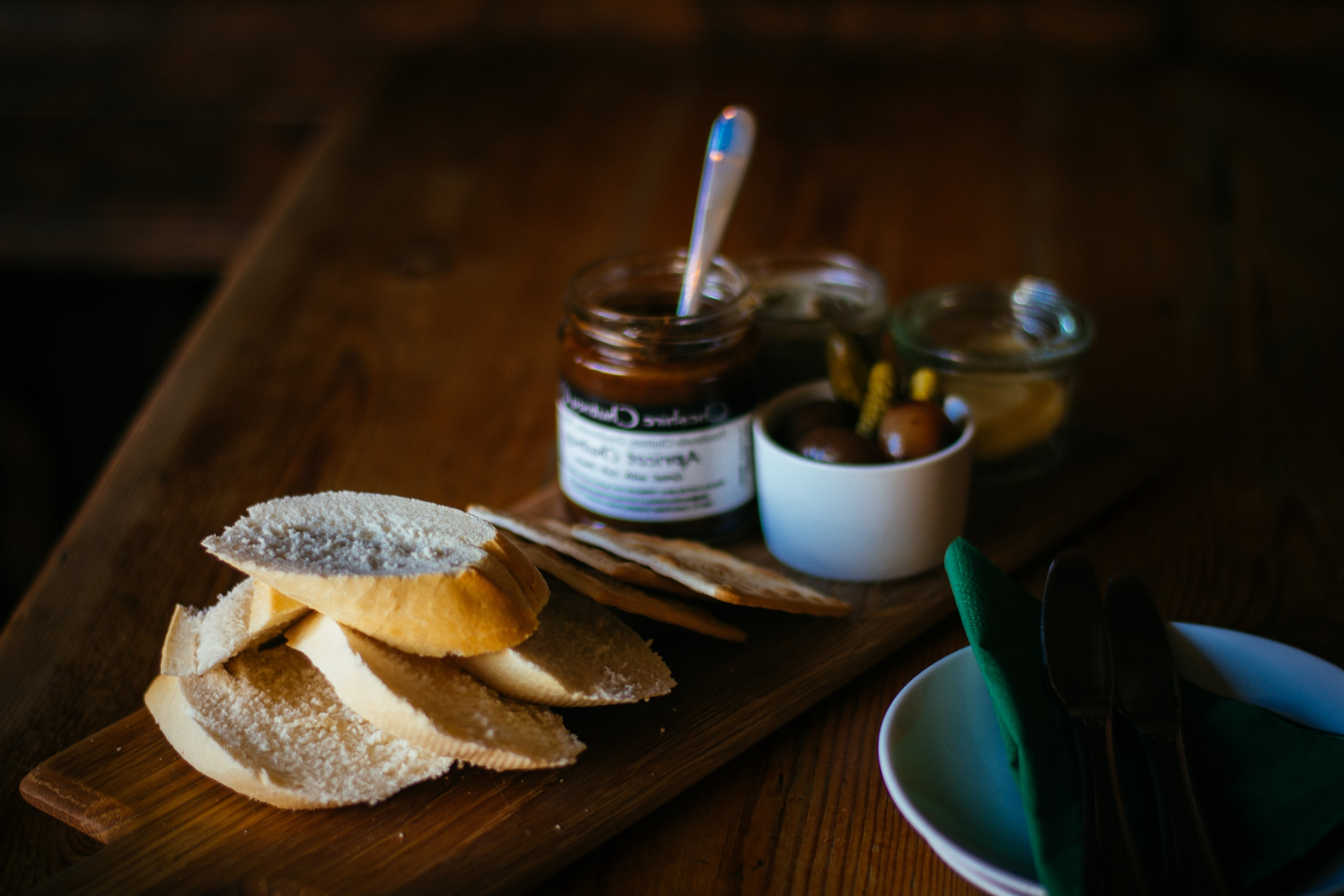 Paté - A choice of one of our Patchwork Pates, all served with bread, crackers, cornichons, balsamic pickled onions, & Cheshire Chutney Company chutneys.- Chicken liver with brandy & herb £7- Duck with apricot & apricot brandy £7- Welsh Dragon - Venison & chilli £7