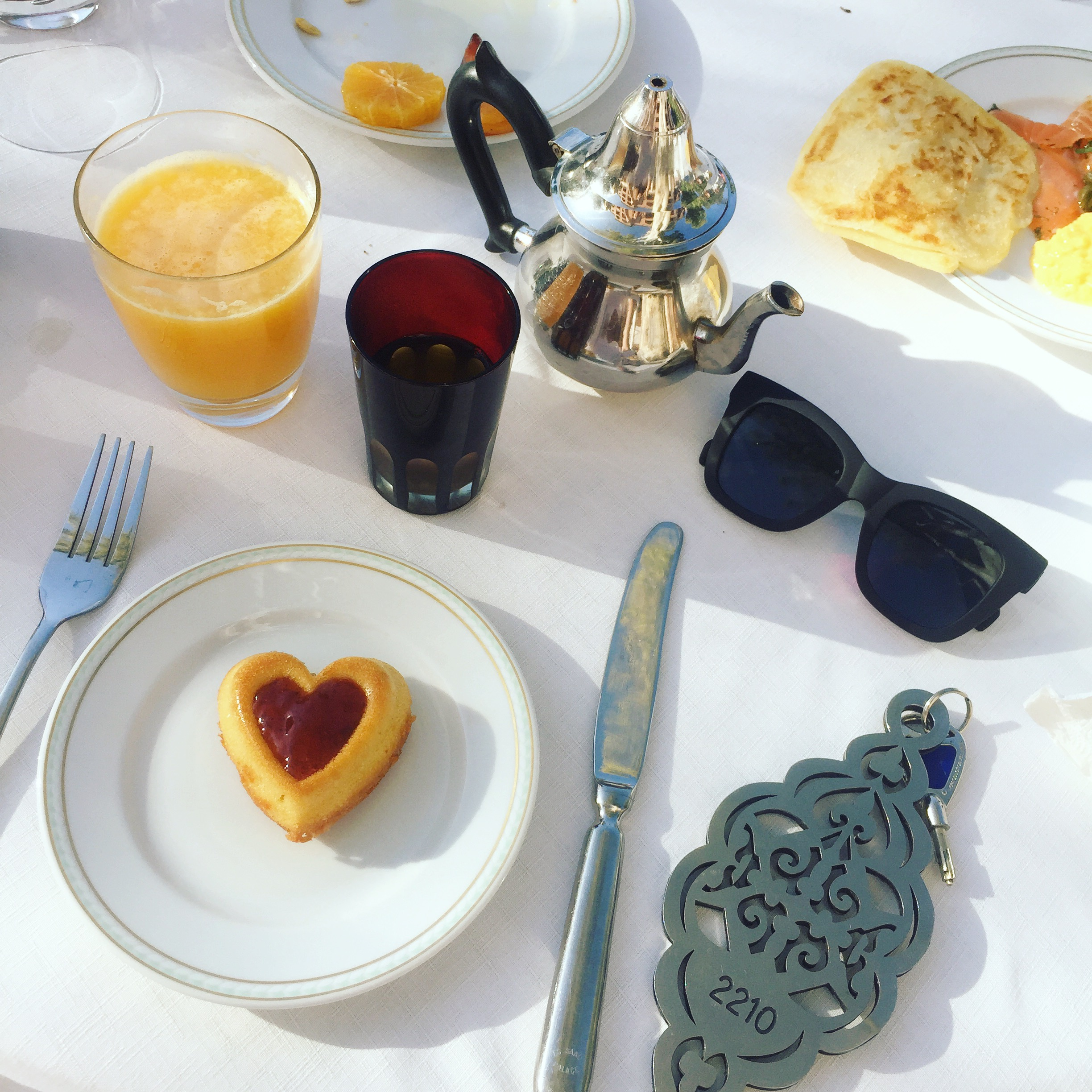 Booze-free zone: Mint tea, OJ and cake replaced my breakfast buck's fizz on this holiday