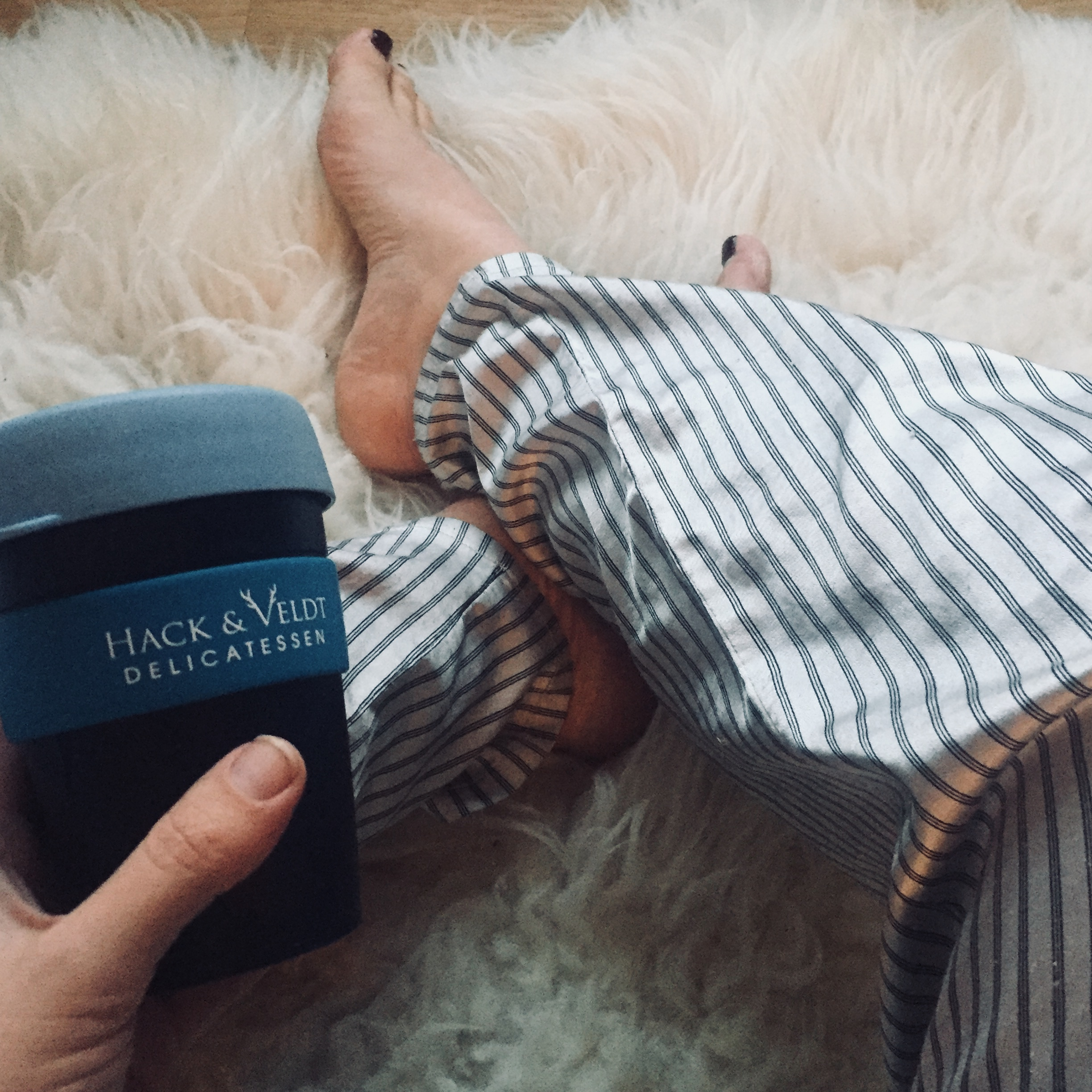 Cosy: Caffeine and stripes on a lazy Sunday morning