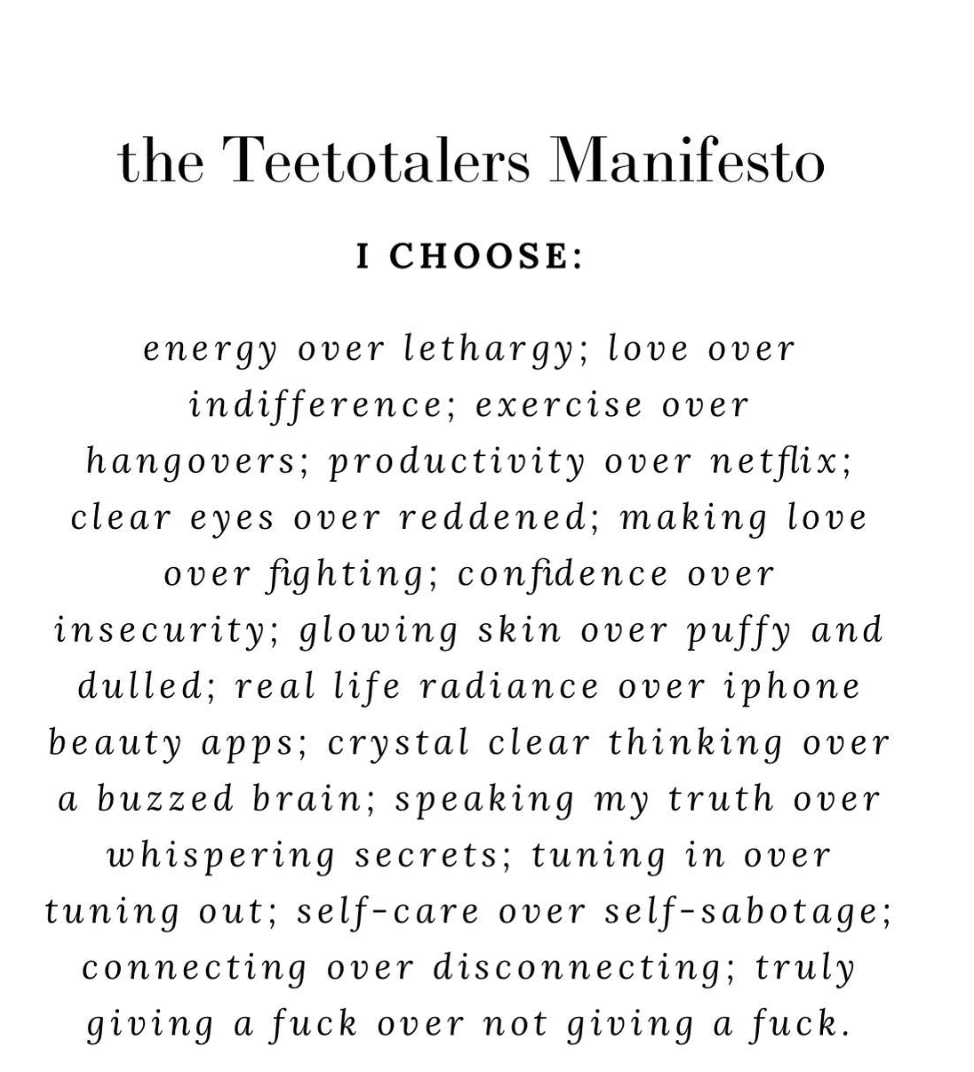 Truly giving a fuck: A booze-free manifesto c/o The Sober Glow