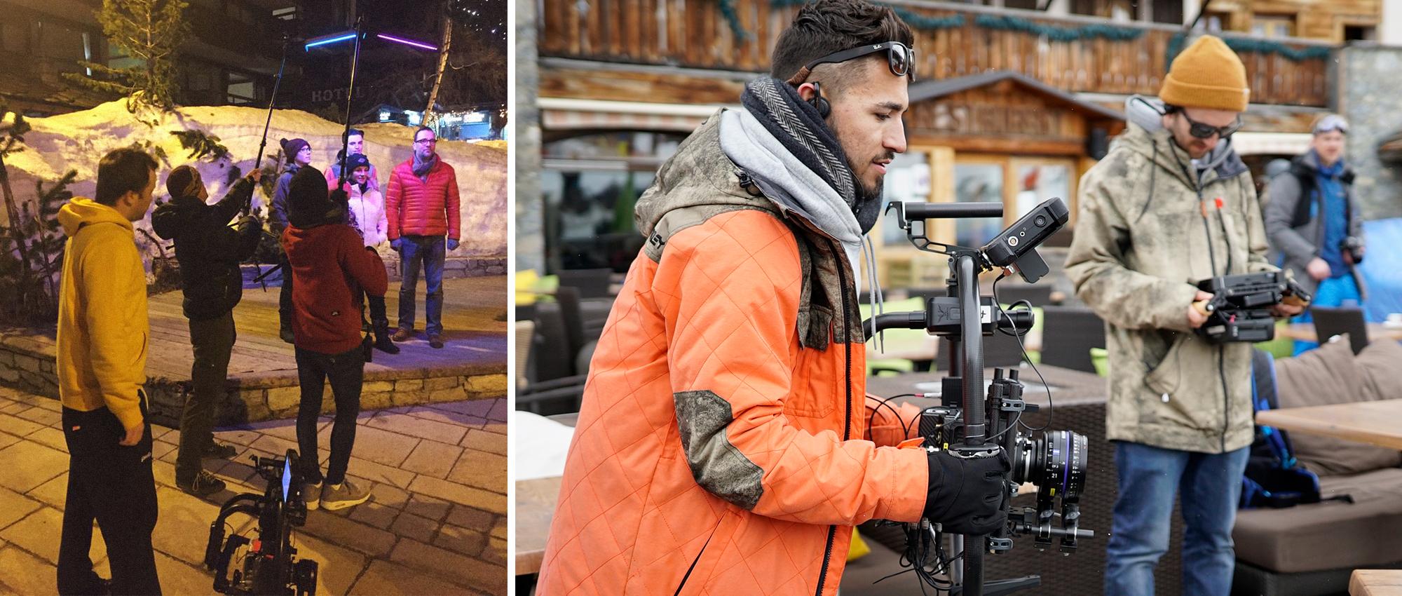Left:  the team use LED lighting boomed overhead to create firework lighting FX.  Right:  DOP Josh Monie operates the Alexa Mini.