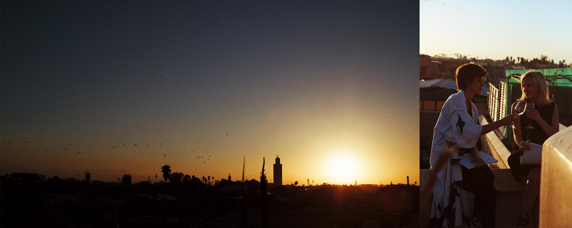 Wrap: the sun sets on Marrakech and day two of our shoot as Sella enjoy a glass of wine looking over the city.