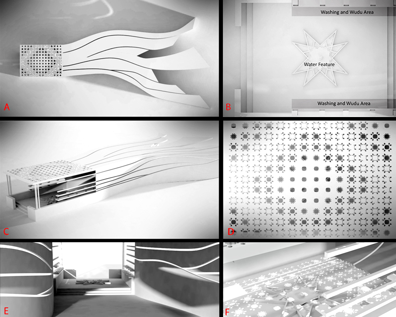A. Top view | B. Plan | C. Bird eye view | D. Parametric roof pattern | E. Interior pathway | F. Light patterns underneath the roof