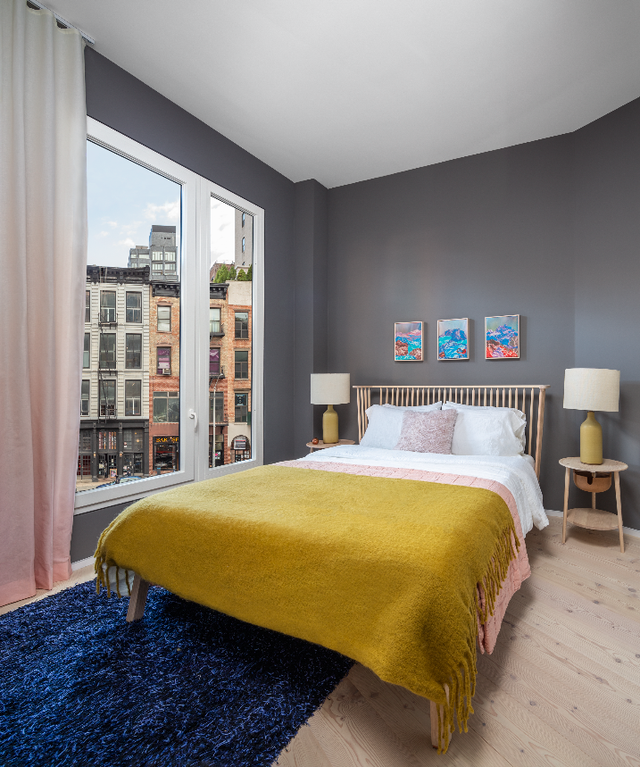 A bedroom furnished by The Future Perfect at 100 Franklin, in Tribeca