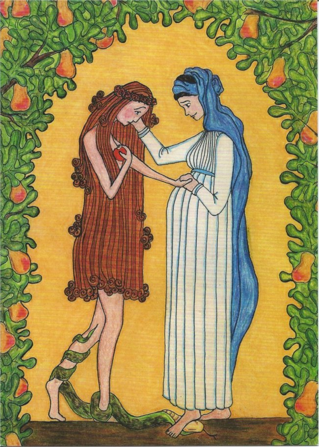 Mary and Eve made by a nun from Our Lady of Mississippi Abbey