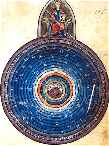 Earth at the center of the Spheres. Copy of Gossuin de Metz, 13th c.