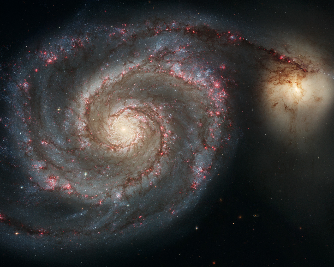 Spiral Galaxy M51, Hubble Space Telescope