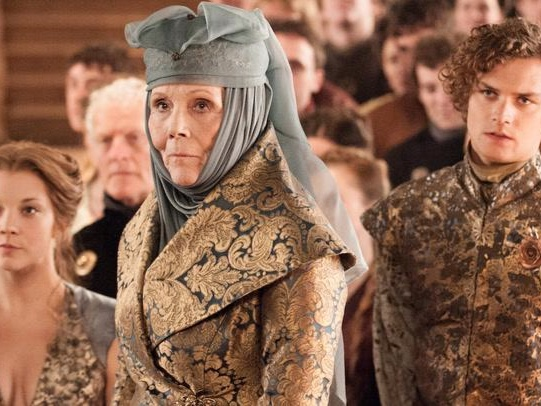The florals, soft colors, and draping fabrics of House Tyrell.