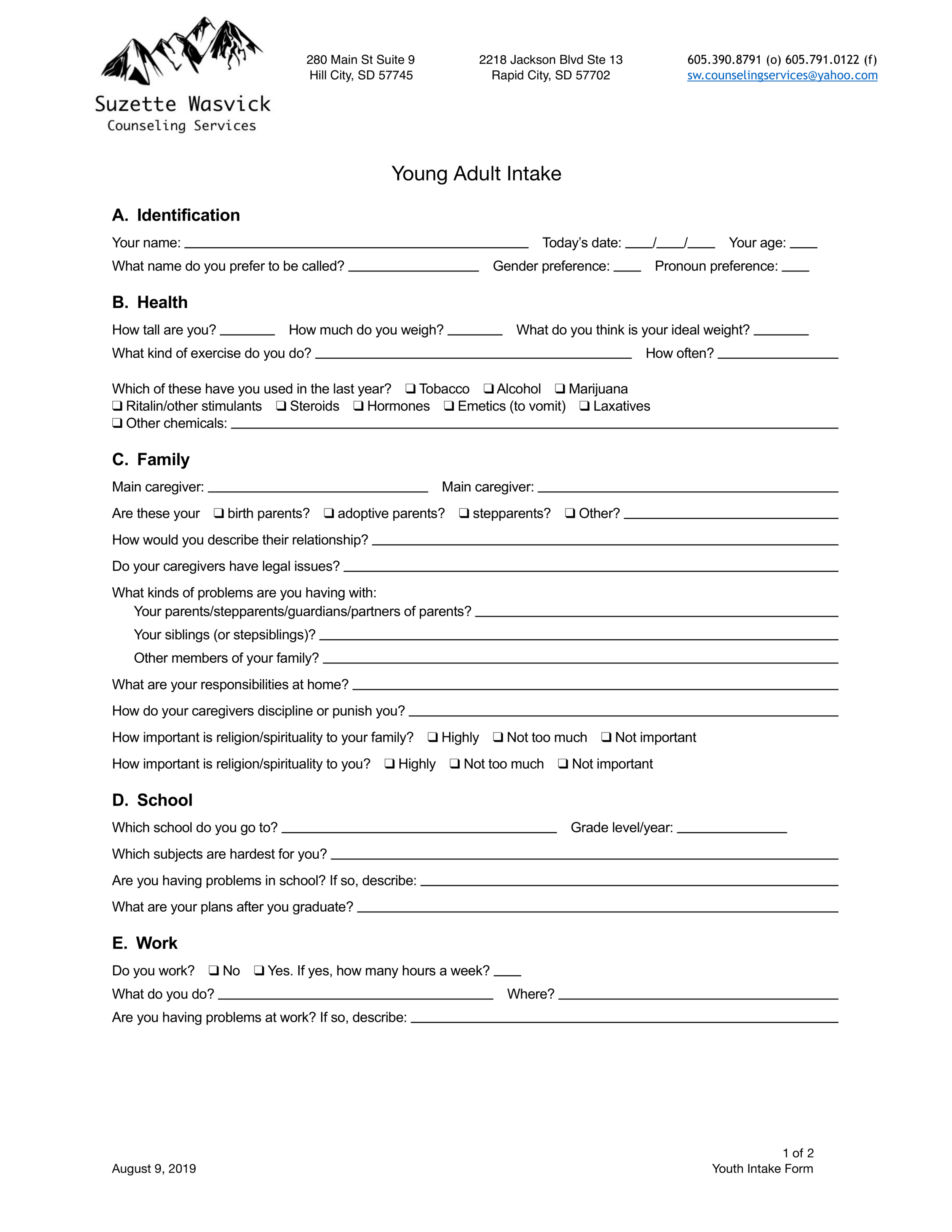 Young Adult Intake Form