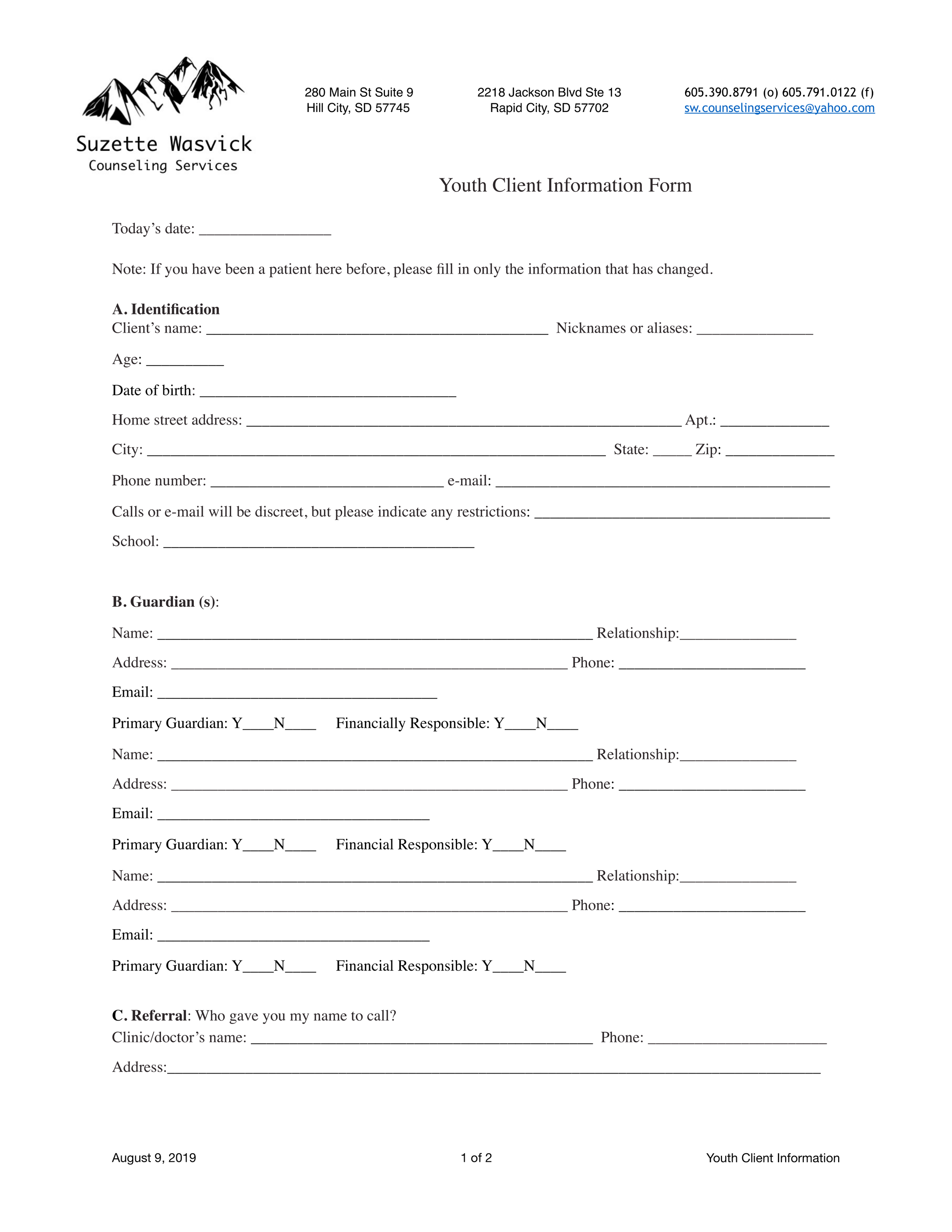 Youth Client Information Form
