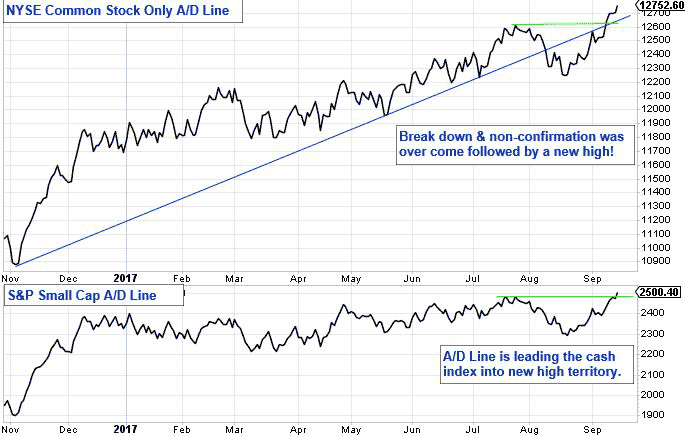 NYSE Common Stock Only A/D Line. Break down and non-confirmation was over come followed by a new high! S&P Small Cap A/D Line. A/D line is leading the cash index into new high territory.