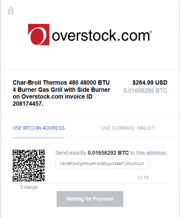 Bitcoin Payment Example using Overstock.com