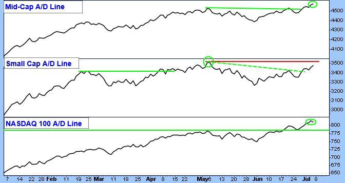 Mid-Cap A/D Line Chart. Small Cap A/D Line Chart. NASDAQ 100 A/D Line Chart.