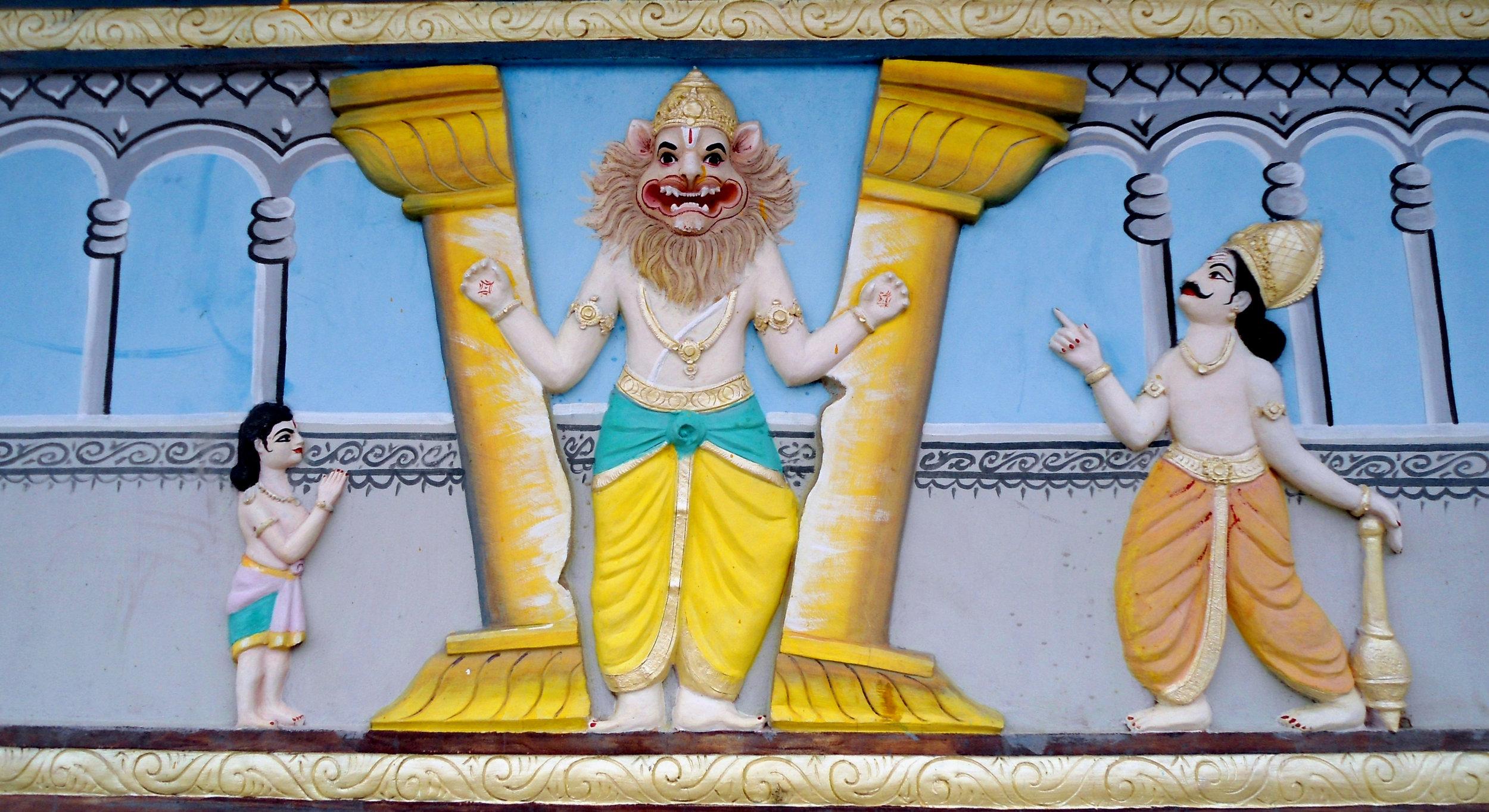 Lord_Narasimha_statue_at_Venkateswara_Temple_in_Midhilapuri_VUDA_Colony.JPG